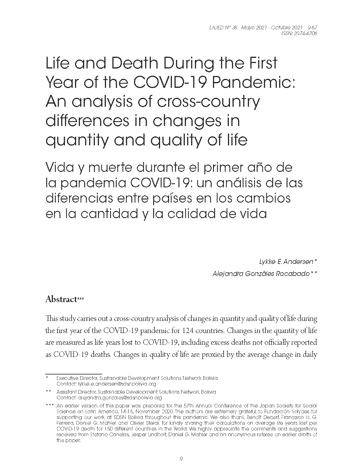 Life and Death During the First Year of the COVID-19 Pandemic: An analysis of cross-country differences in changes in quantity and quality of life